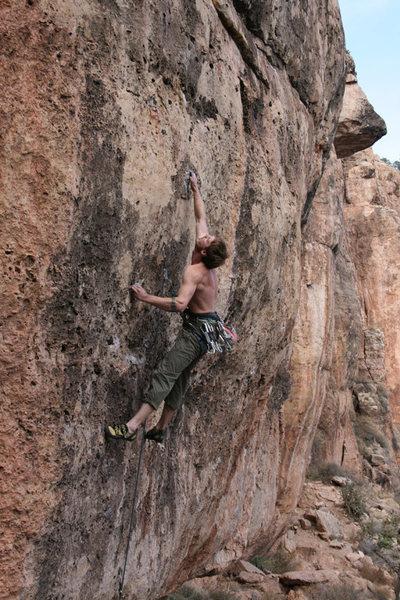 Rock Climbing Photo: Stickin' the crux big move.