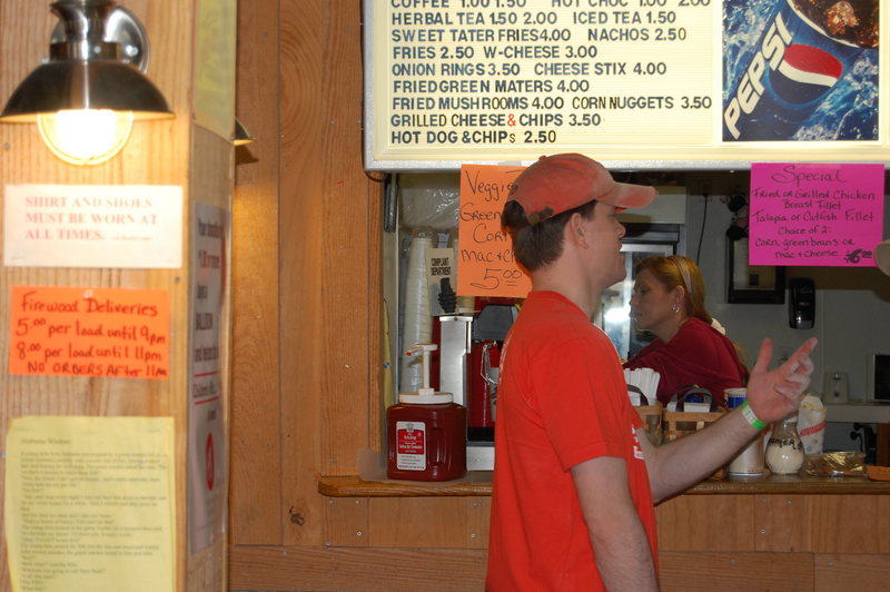 Rock Climbing Photo: Mrs Gina Schultz, behind the counter doing her thi...