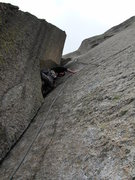 Rock Climbing Photo: Pitch seven: the crux flaring chimney