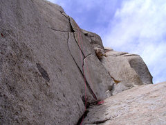 Rock Climbing Photo: The Flakes.  The route goes right at the first V a...