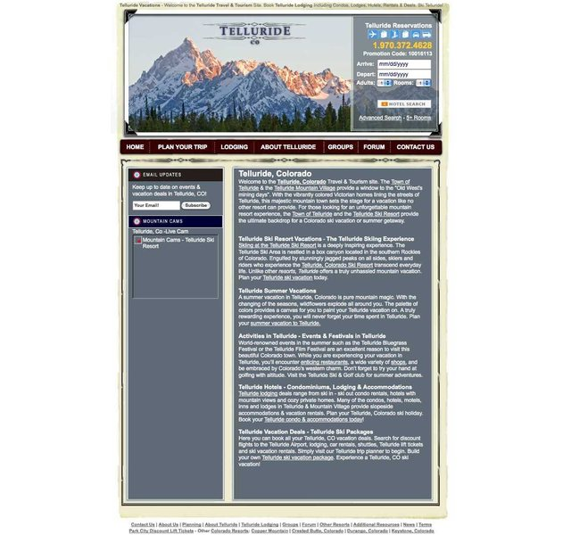 This was the web page featuring the questionable photo of the Grand Teton used to advertise Telluride.