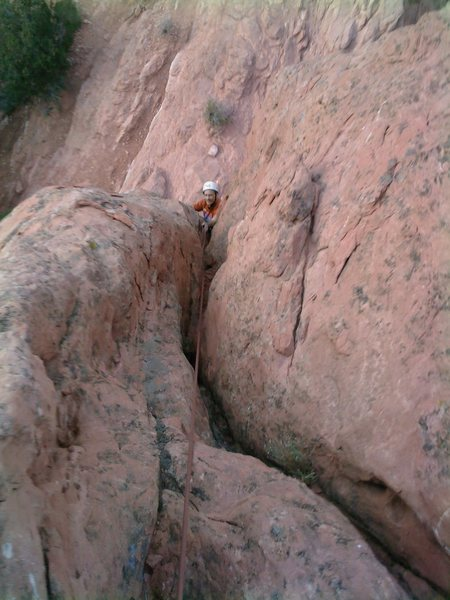 Looking down on Bill Weiss, where the climbing gets easy on Borderline Direct.