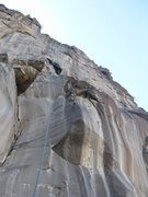 Rock Climbing Photo: Kristin approaching the finger crack on the headwa...