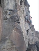 Rock Climbing Photo: A Taos traffic jam -- Dan on Gold Rush, Steve on t...