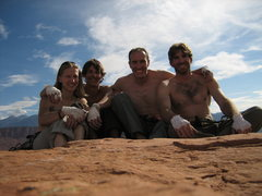Rock Climbing Photo: A very happy day in the desert.  Summit of Jah Man...