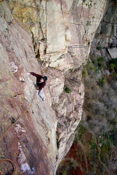 Rock Climbing Photo: Eldorado Canyon. Slow Train Coming. Isaac Therneau...