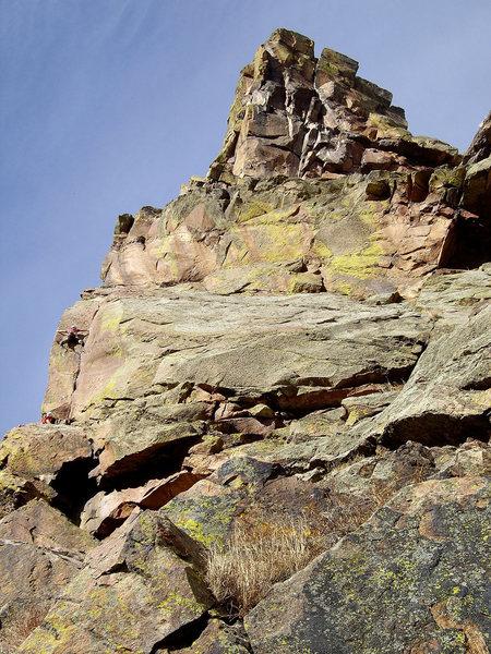 Rock Climbing Photo: Climbers on Pitch 1 of Naked Edge. Nov. '08.