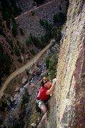 Rock Climbing Photo: Climber on Genius Loci. View from the anchors on t...