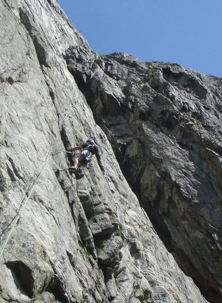 Bill Flaherty on a tricky, slabby pitch of the Heidi route