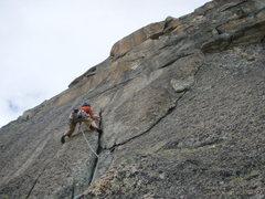 Rock Climbing Photo: Pitch three, Jeff Buhl playing donkey kong junior
