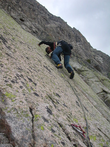 Thomas F leading off on an early pitch in the slabby lower wall.