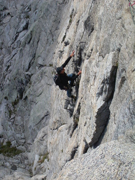 Thomas F on one of the splended pitches in the headwall.