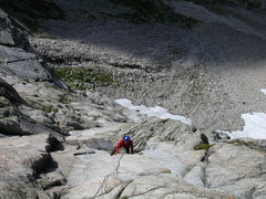 Rock Climbing Photo: Daniele H in one of the middle pitches of Herbstwi...