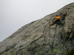 Rock Climbing Photo: Daniele H in the crux of the route, a 5c section i...