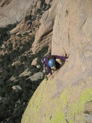 Rock Climbing Photo: Erica Biggio topping out the 3rd pitch of Engame i...