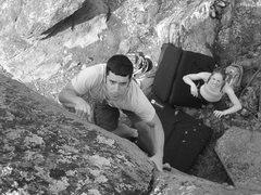 Rock Climbing Photo: Greg at the final move