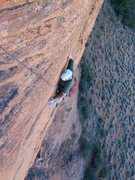 Rock Climbing Photo: Joe nearing the anchor on the airy P2.