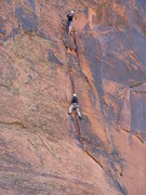 Rock Climbing Photo: Joe is following the interesting dihedral section ...