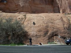 Rock Climbing Photo: The Slab Route starts just right of the bush under...