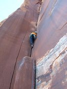 Rock Climbing Photo: The cruxes are 1/3 and 2/3 up the route at wide sp...