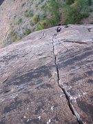 Rock Climbing Photo: Looking down on the stellar crack on P1...