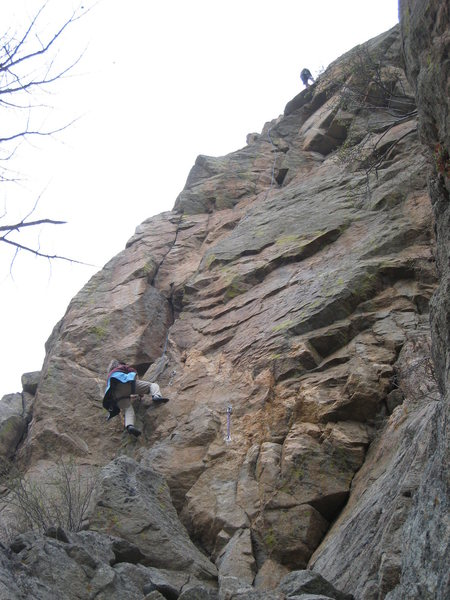 Rock Climbing Photo: Mary Riedmiller starting up the route. Bruno Hache...