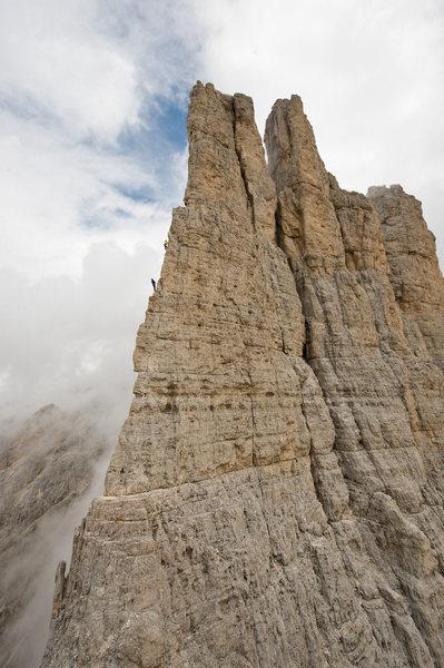 Torre Vajolet, Dolomites<br> photo:Simon Carter