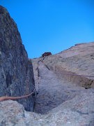 Rock Climbing Photo: Leading the crux of Casual Route, Long's Peak.