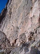 Rock Climbing Photo: That little red dot is Peter Croft on his first as...
