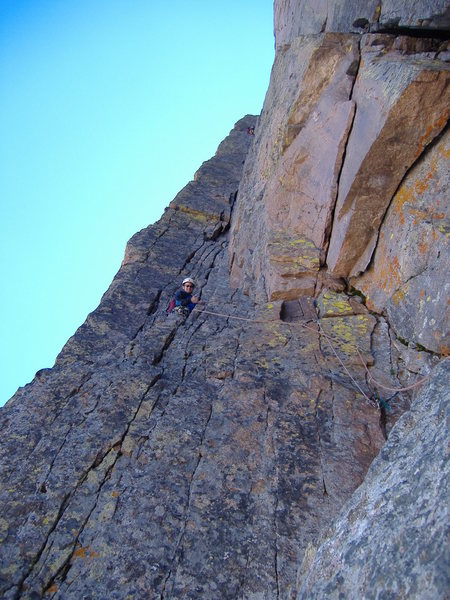 Starting the excellent dihedral pitch, Casual Route, Long's Peak.