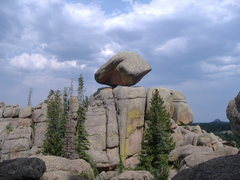 Rock Climbing Photo: balanced boulder, 'Woo.