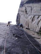 Rock Climbing Photo: I'll be Black on the left, a 5.8 dihedral on the r...