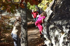 Rock Climbing Photo: Granddaughter Kianna West going for the mantle wit...