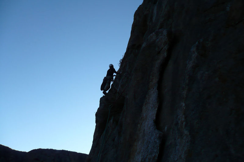 Rock Climbing Photo: Pat Peddy leading the next to last pitch.
