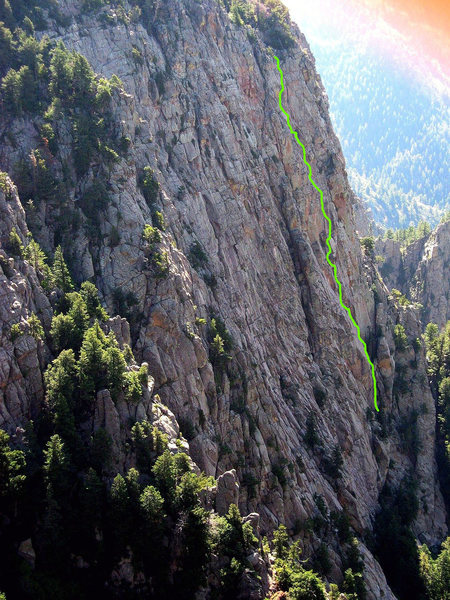 This is the line of Bad Fun on the far end of the west face of Pino Wall