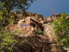 Rock Climbing Photo: Looking up at Pensativa corner and MicroTome crack...