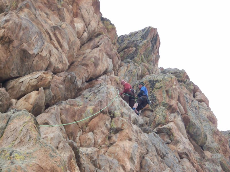 Rock Climbing Photo: Jon and I hanging out at the anchors for the first...
