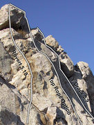 Rock Climbing Photo: Topo showing Y-Crack (5.8/5.9), Rovert (5.10), and...