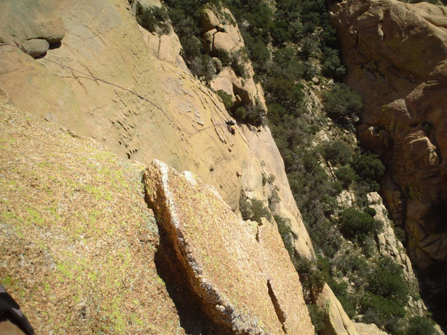 From near the top of sheepshead, looking down at pitch4.  climbers are at the top of p3.