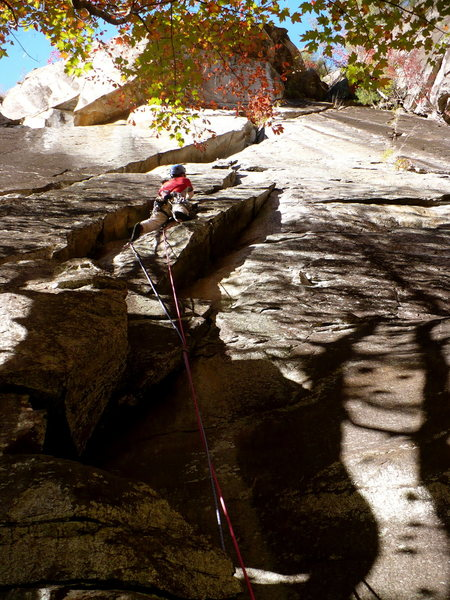 Climbing one of the many options on The Diagonal, Tallulah Gorge, GA