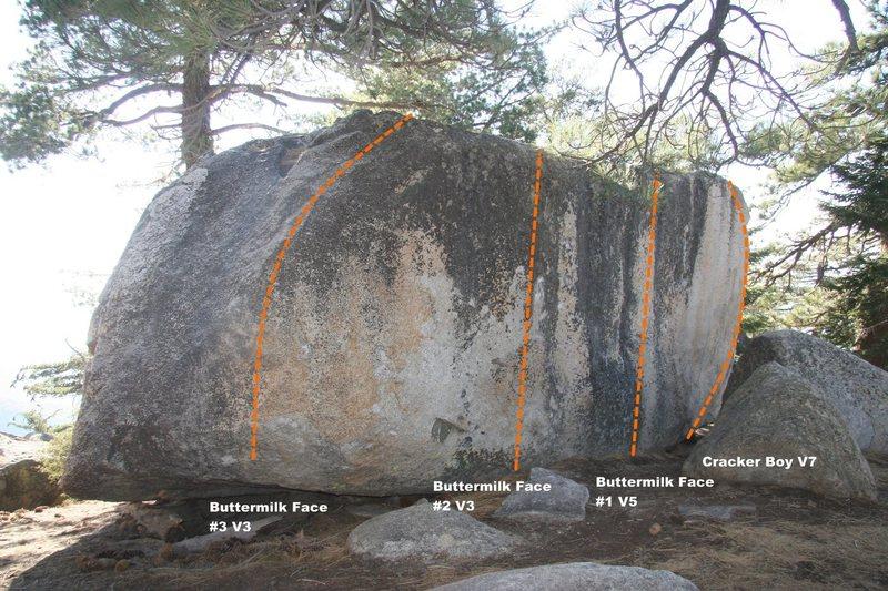 Buttermilk Boulder face Topo