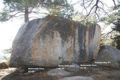 Rock Climbing Photo: Buttermilk Boulder face Topo