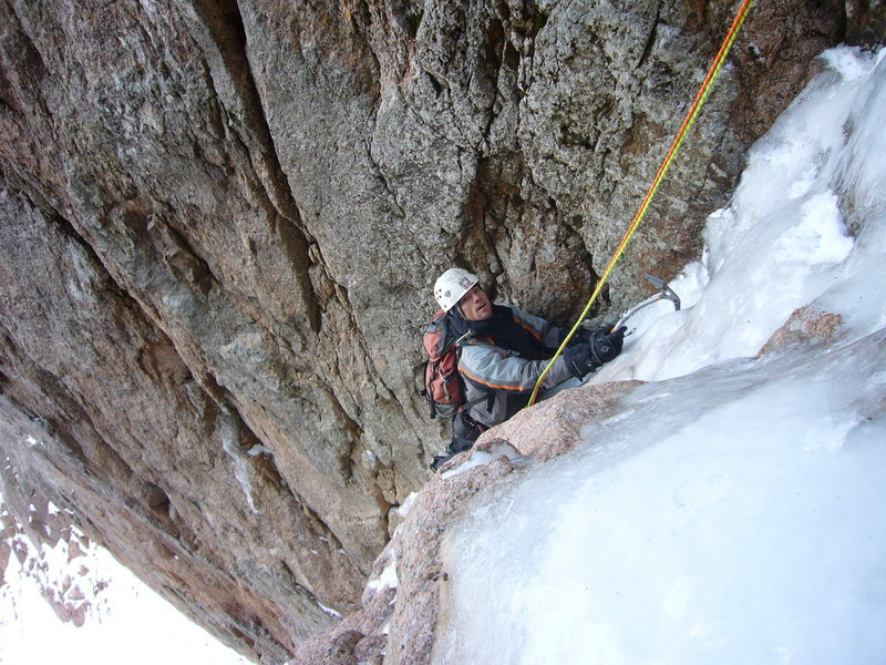 Rock Climbing Photo: Slade coming up the first pitch of Total Abandon o...