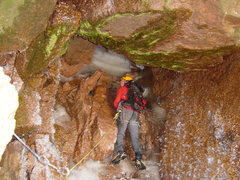 Rock Climbing Photo: Erik Wellborn checking out the rather rainy 2nd pi...