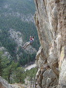 Rock Climbing Photo: Rapping to the right of the route (climber's right...