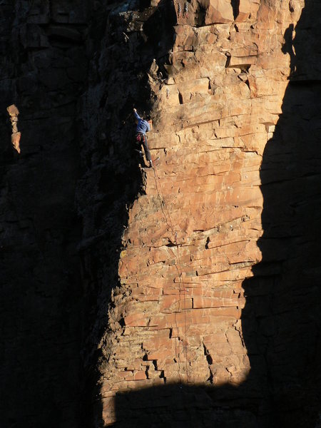 Rock Climbing Photo: Linda stretching it out on a late day ascent. Nov....
