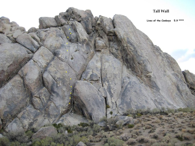 Rock Climbing Photo: Lives of the Cowboys, Tall Wall, Alabama Hills Cal...