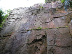 Rock Climbing Photo: Three bolted routes on right side (main wall) of t...