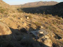 Rock Climbing Photo: A hillside foundation from an old mining site pass...
