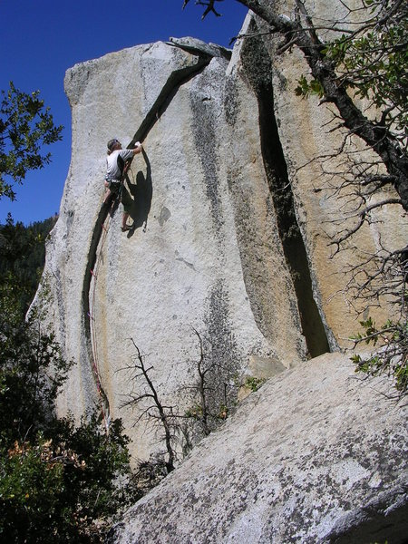 "Vicious, 5.11+.  We found this climb by accident while getting lost and then giving up on a west-side descent to Dome Rock.  I still am surprised that such a short route had me thinking: ""This is better than anything in the Platte or Vedauwoo."""
